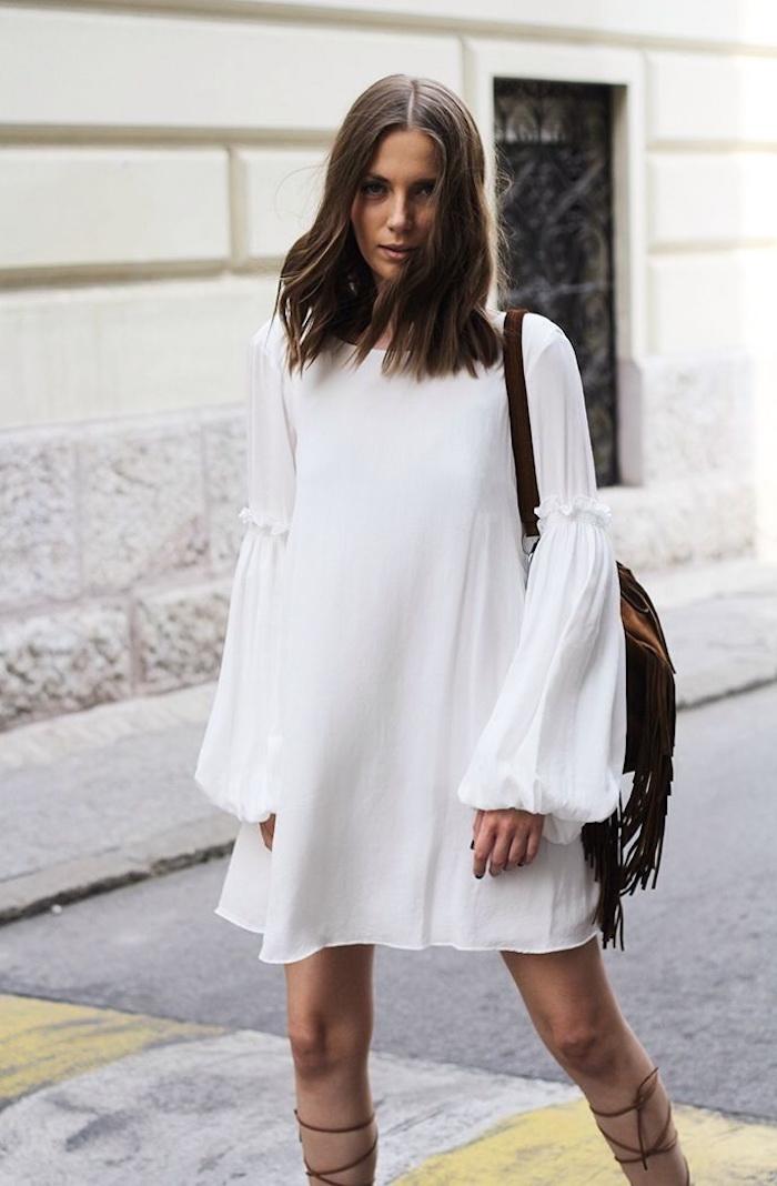 Belle robe blanche boheme robe champetre chic robe bohème blanche robe courte manche longue fluide