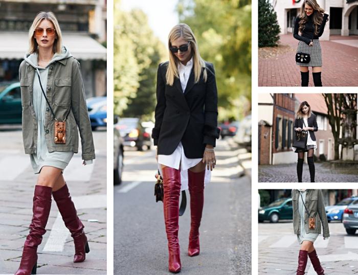 look streetstyle avec sweat gris pastel porté au-dessus d'une veste gris, modèle de cuissardes en cuir bordeaux