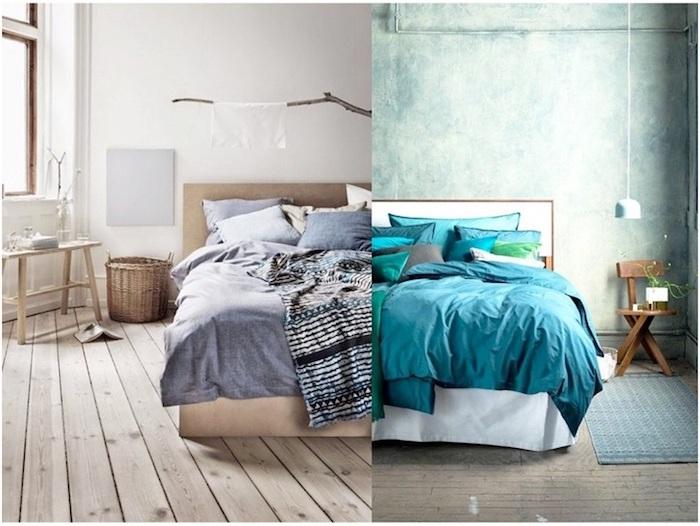 Deco chambre moderne amenagement tencance design contemporaine chambre bleue ou grise déco simple