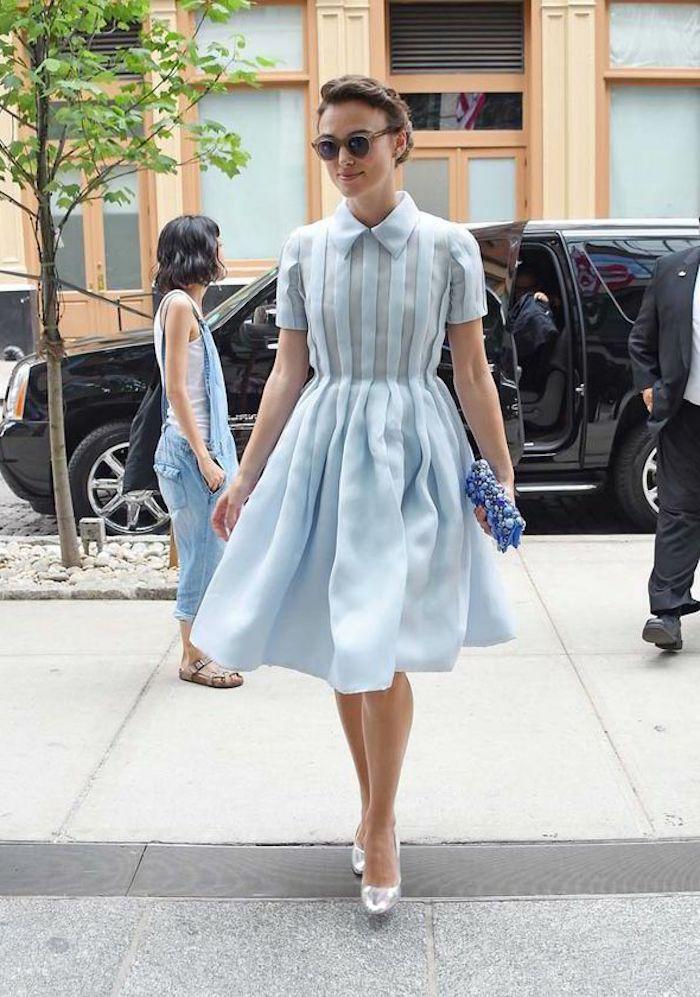 Une tenue femme bapteme combinaison soirée tenue de bâpteme chic bleue robe mi longue