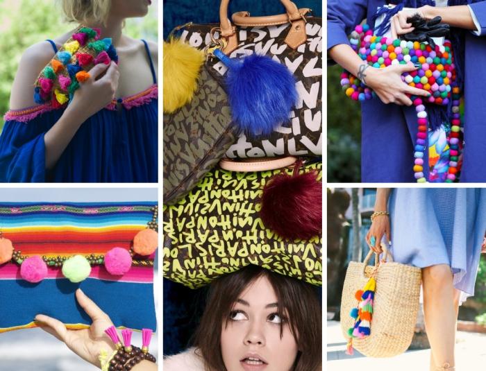 accessoires fashion tendance femme, modèle de pochette en paille avec tassels colorés, sac à main à déco pompons mini colorés
