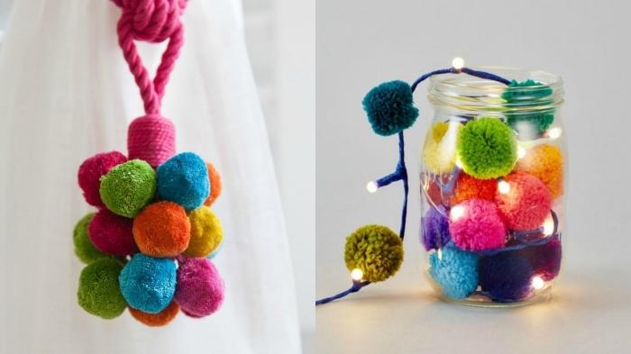 exemples d'objets décoratifs fait main avec pelotes de laine de couleurs variées, bocal lumineux avec guirlande en pompons
