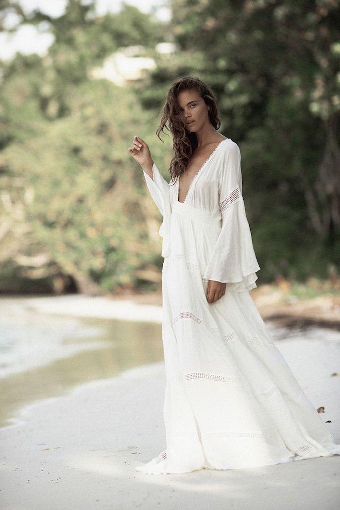 Robe longue boheme idée comment s'habiller boho chic style robe longue fleurie robe ete blanche tenue tout blanche