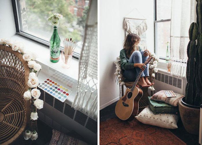 Lit commode design chambre à coucher moderne décoration de chambre bohème femme avec guitare peinture