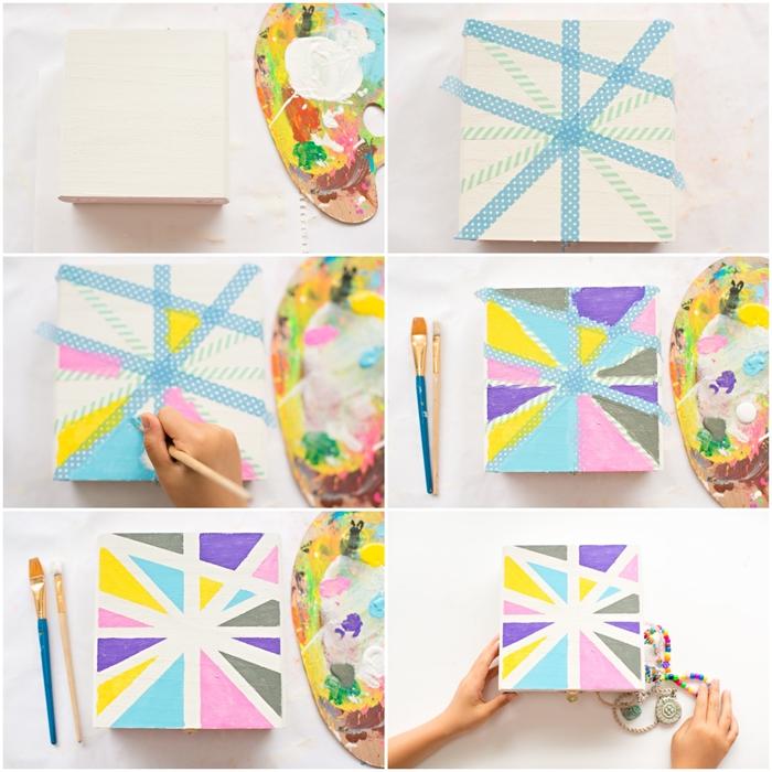 idée pour un cadeau fête des mères maternelle facile à réaliser, jolie boîte à trésorz à motifs géométriques réalisés avec du ruban de masquage