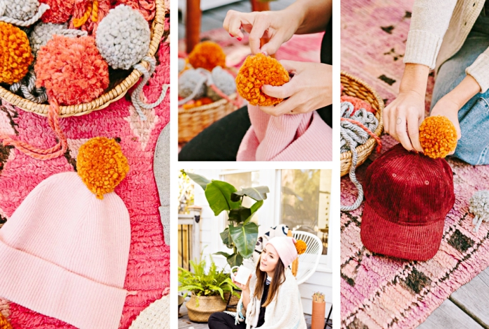 modèles de bonnet et casquettes customisés DIY, bonnet femme de couleur rose pâle avec pompon en laine orange