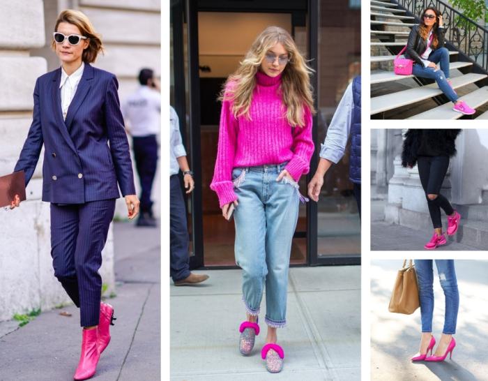 baskets femme tendance de couleurs rose fucshia combiné avec paire de jeans clair et veste en cuir noir pour look moderne