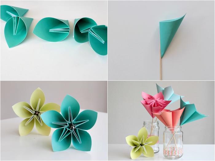 tuto pliage papier facile pour réaliser une jolie pâquerette en origami composée de plusieurs pétales origami collées ensemble