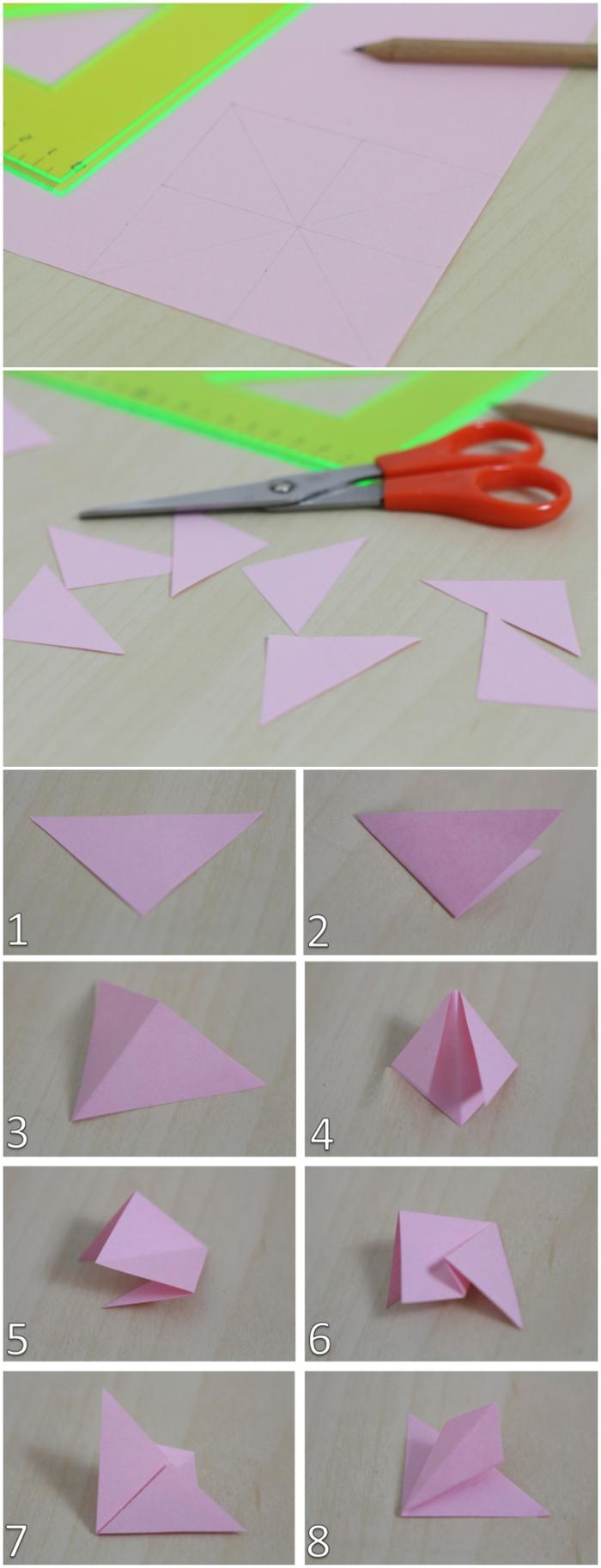 le pliage papier facile pour réaliser une fleur origami, une carte de voeux originale personnalisée avec une fleur en papier