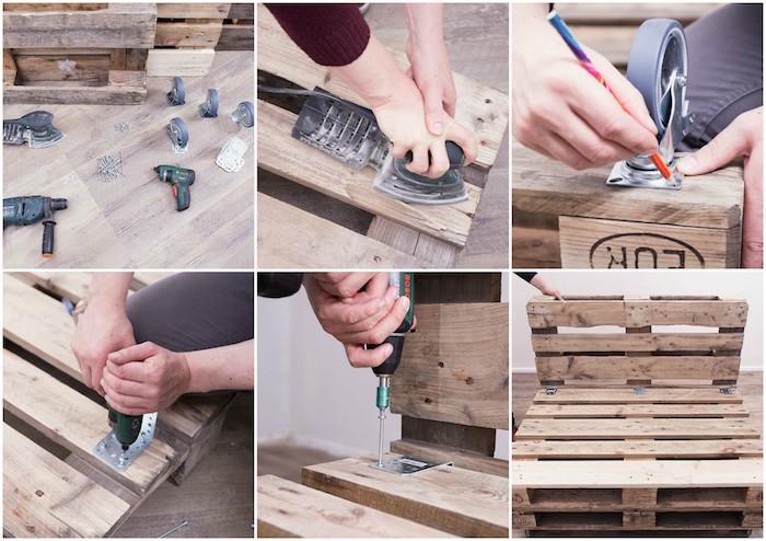 comment faire un canapé en palette de bois avec deux palettes superposées et une palette en guise de dossier, bricolage facile été