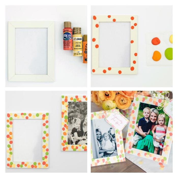exemple de cadeau fête des mères maternelle à faire soi meme, cadre photo blanc avec des empreintes de doigt colorées, photo maman, enfants