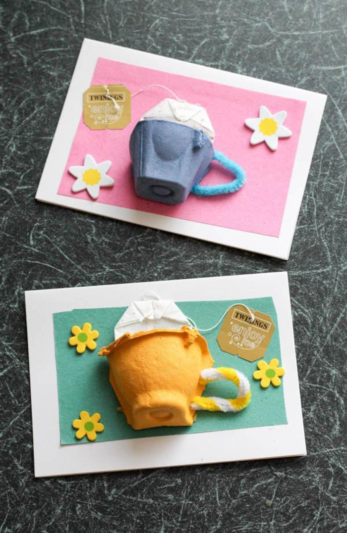 bricolage fête des mères avec une boîte d'oeuf recyclée, jolie carte fête des mères décorée avec une tasse de thé en carton récup et un sachet de thé dedans