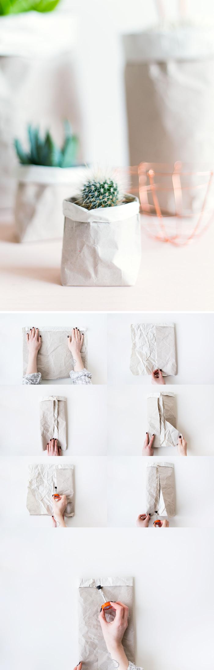 les étapes de pliage facile pour réaliser un cache-pot ou un pot de fleur en papier kraft, activite fete des mères pour réaliser un joli emballage cadeau personnalisé