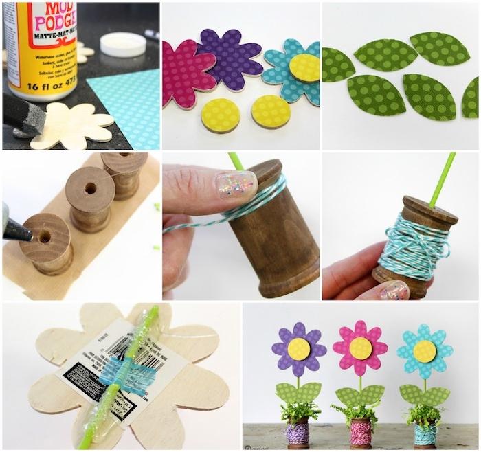 diy fete des meres, fleurs en bois et papier sur une bobine, decoration printaniere pour la deco maison