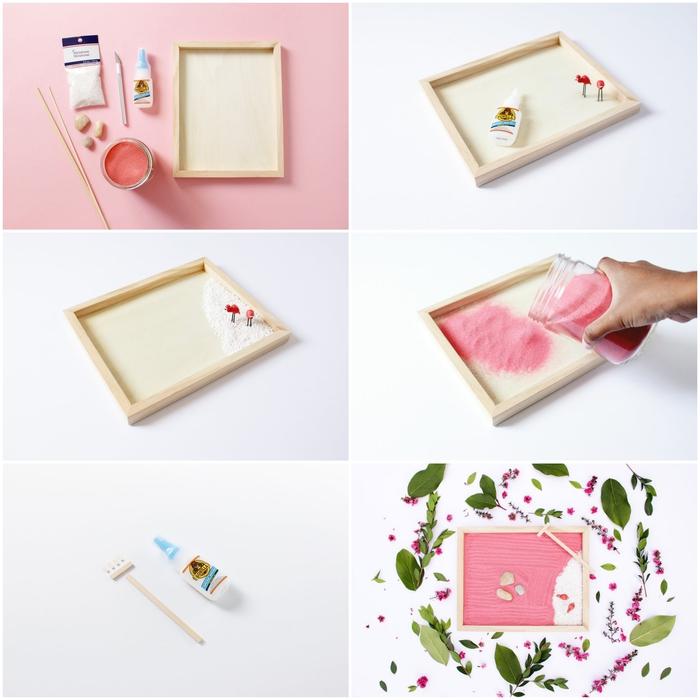 tuto jardin zen miniature pour l'intérieur avec du sable rose et des figurines flamants rose, idee cadeau fete des meres pour les femmes qui apprécient l'ambiance relaxante