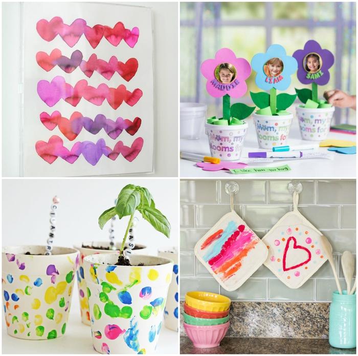 idées de bricolage fête des mères maternelle facile et rapide, activités manuelles créatives avec de la peinture