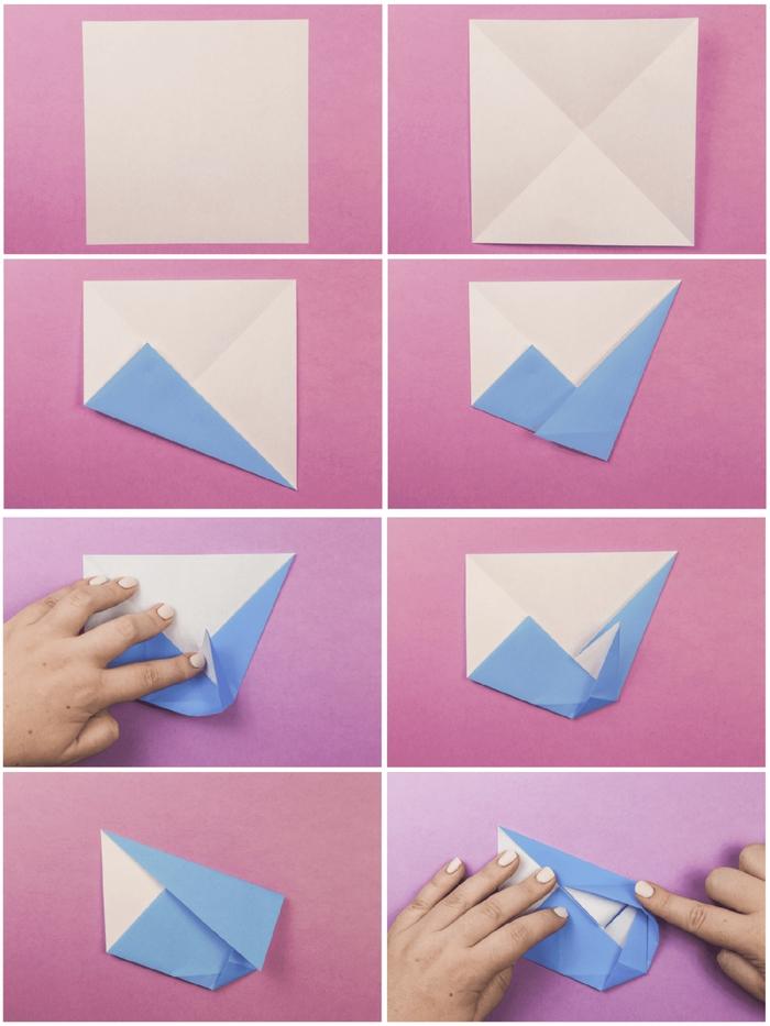 le pas à pas d'une fleur en origami en forme de camélia, les étapes de pliage pour réaliser une fleur origami en peu de temps