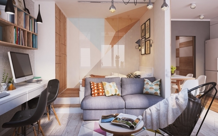amenagement petit espace avec zone bureau de travail à domicile long équipé de chaise noire et étagères de bois