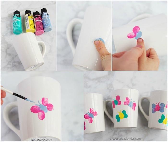 mug personnalisé blanc à empreintes de doigts colorés en forme de papillon, idée de cadeau fête des mères à fabriquer soi meme