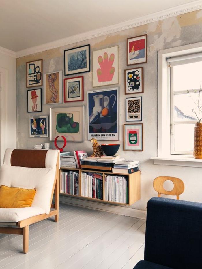 decoration murale design, décoration murale chambre, deco mural, dessin mur, fauteuil blanc en simili cuir, parquet PVC blanc, cadre photo mural