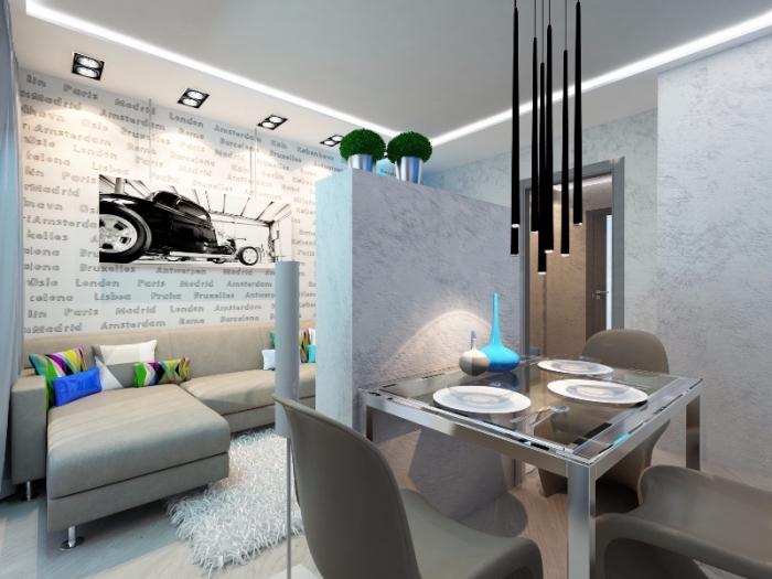 modèle de déco contemporain aux murs à design marbre et plancher au carrelage blanc avec plafond suspendu