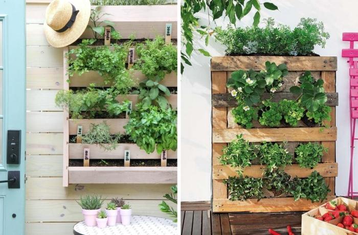 exemple de potager terrasse vertical, déco de jardin avec contenants de bois et terreau spécial pour légumes et herbes
