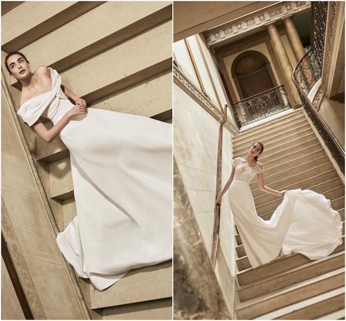 carolina herrera avec robe de mariée 2018 simple avec peu de décoration, matières légères couleur blanche