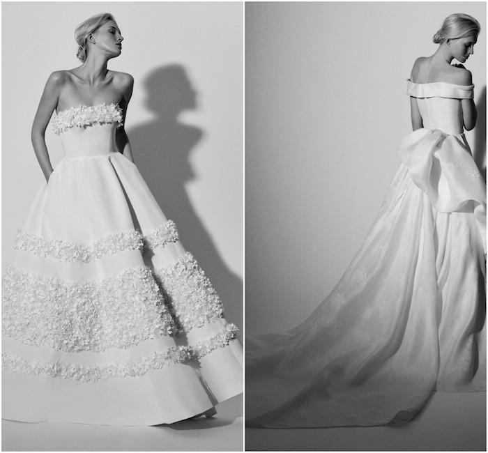 carolina herrera avec une robe de mariée 2018 de jupe évasée et des ornements imitation pétales de fleurs, robe ruban en arrière avec épaules nues