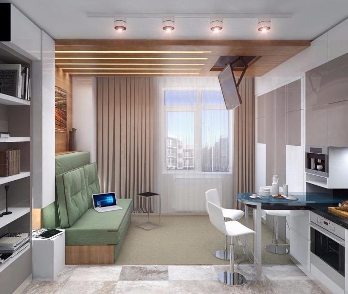 idée comment aménager un petit studio avec petite cuisine moderne équipée avec ilot central table et canapé-lit
