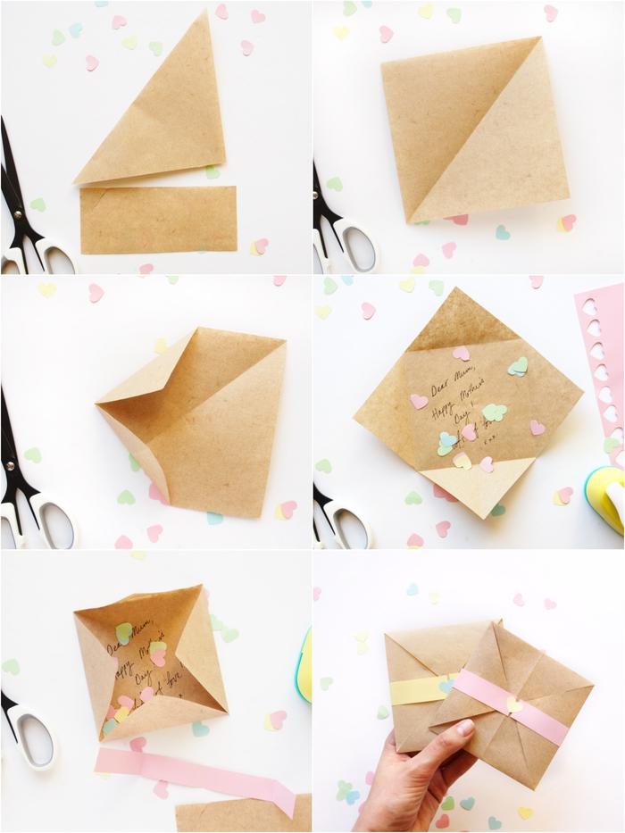 une carte de voeux confettis couleurs pastel en origami facile, activité manuelle fete des meres facile et originale