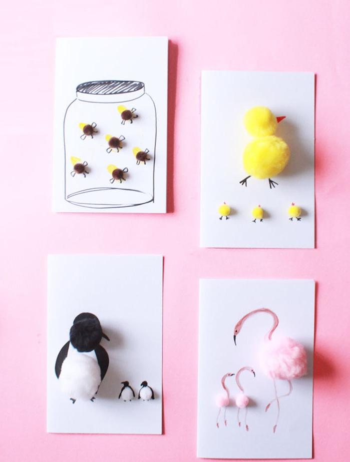carte fête des mères maternelle avec des pompons pour réaliser des animaux sur bout de papier blanc
