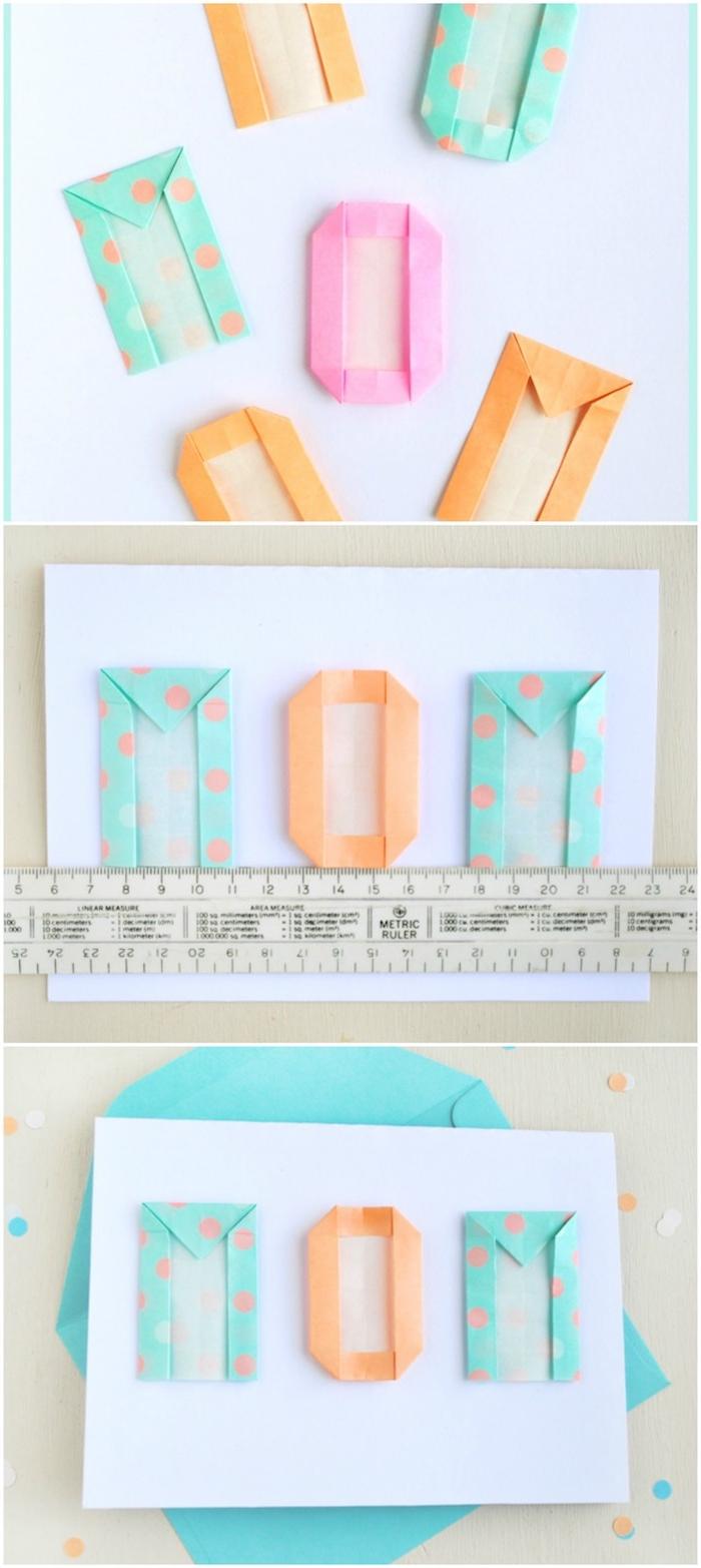 carte fête des mères à fabriquer soi meme, lettres en papier coloré sur un bout de feuille blanc