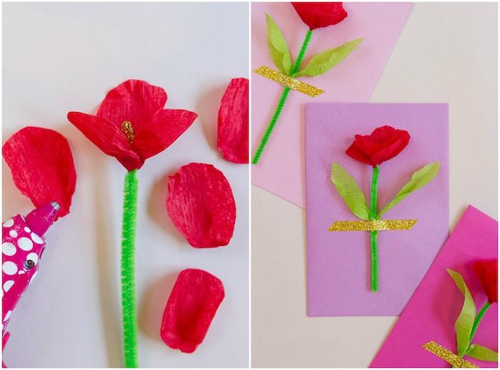 exemple pour réaliser une carte fête des mères maternelle en fleur de papier crépon et une tige cure pipe verte sur un bout de papier