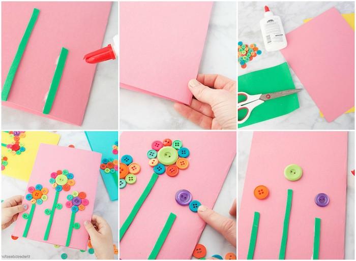carte fête des mères maternelle en fleurs en boutons colorés sur un papier rose et tiges vertes en feutrine