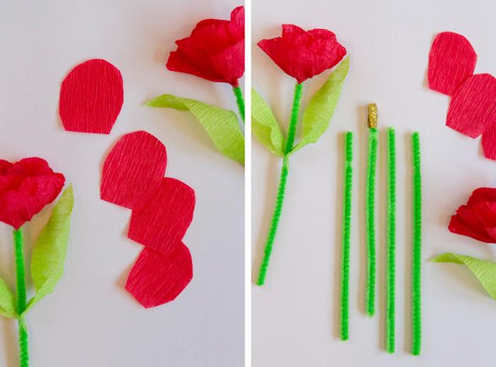 tutoriel pour réaliser une carte fête des mères à fabriquer, fleurs en papier crépon avec des tiges en cure pipe verte