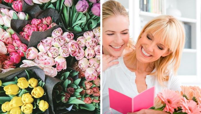 comment célébrer la fete des meres avec une surprise douce en forme fleurs fraîches ou cartes postales personnalisées