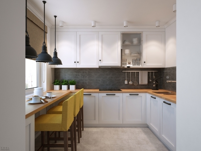 comment combiner les styles dans une déco moderne de la cuisine, aménagement cuisine d'angle avec meubles blancs et crédence en gris anthracite