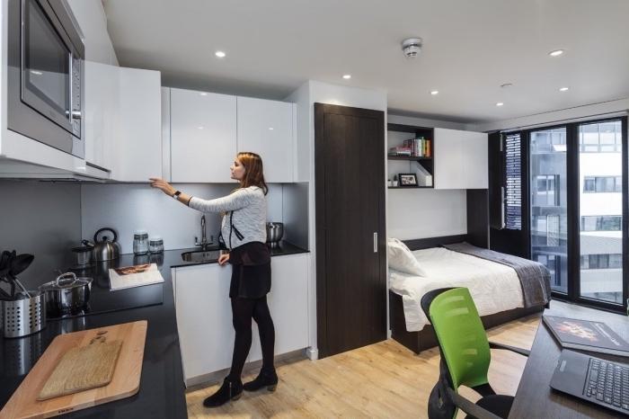 décoration appartement étudiant avec cuisine d'angle et coin à dormir aménagé avec meubles blanc et noir
