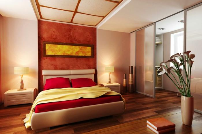 lit plateforme beige, décoration de chambre simple mais stylé en style zen