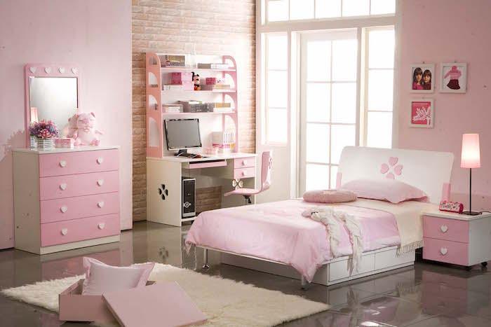 chambre a coucher complete enfant petite fille entièrement rose et blanche