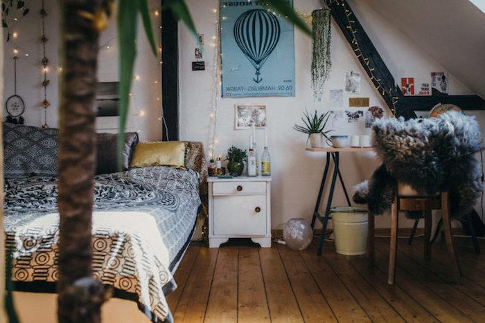 Chambre a coucher design idée bohème déco chambre 2018 intérieur moderne style bohème cocooning guirlande lumineux