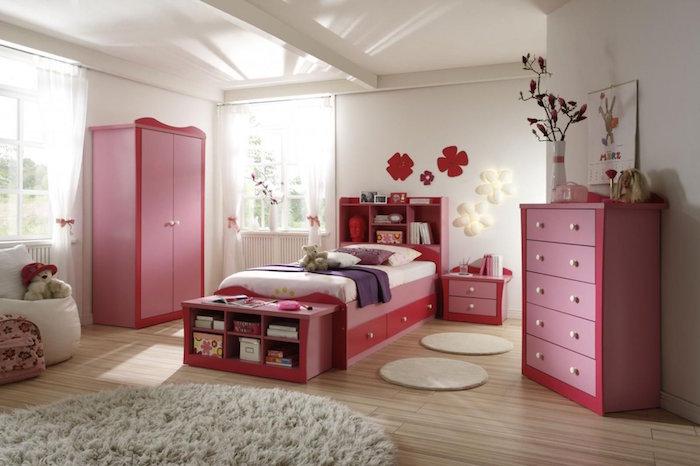 ensemble de meubles pour chambre de fille complète rose avec lit à rangements