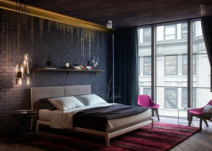 décoration industrielle de chambre feng shui, tapis rose, chaises roses, murs noirs en briques