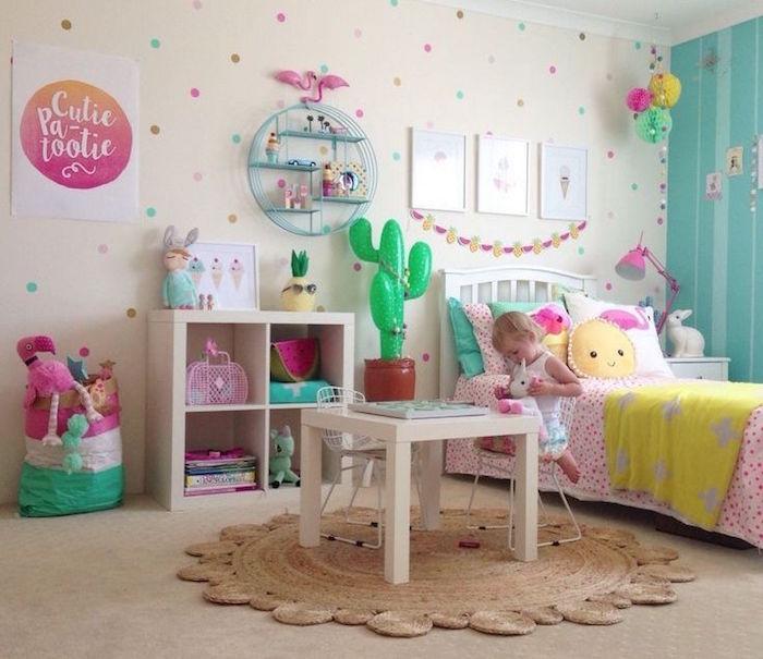 idée chambre fille 2 ans avec tapisserie à pois et mobilier ikea blanc chaise et bibliotheque