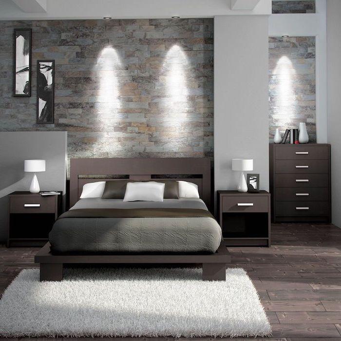 Chambre adulte complete armoire chambre adulte décoration à faire chambre brune et gris intérieur contemporaine