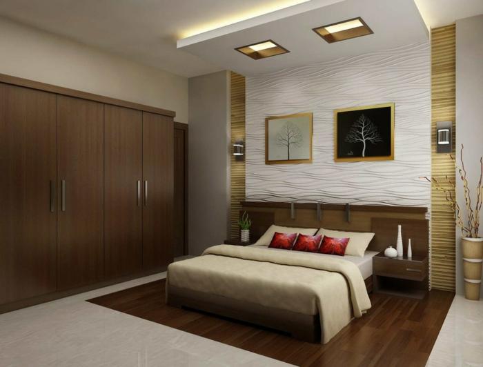 quelles sont les feng shui couleurs dans la chambre moderne, chambre en beige et blanc déco bois et blanc