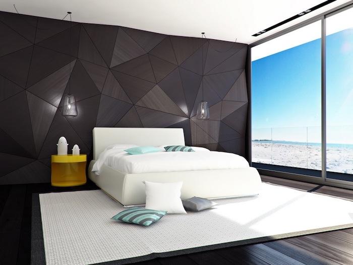 Deco chambre moderne chambre a coucher adulte complete cool idée simplicité belle vue grande fenetre