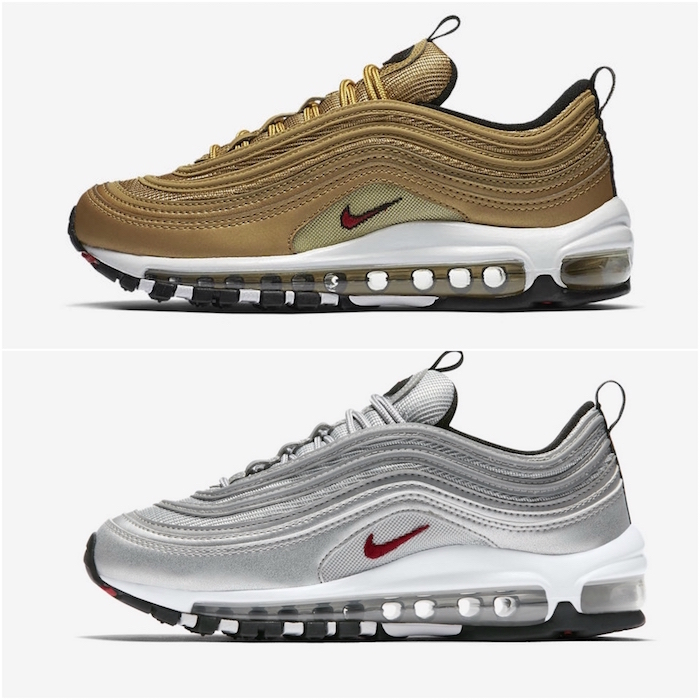 chaussure homme a l a mode 2018 nike air max 97 silver gold argent or