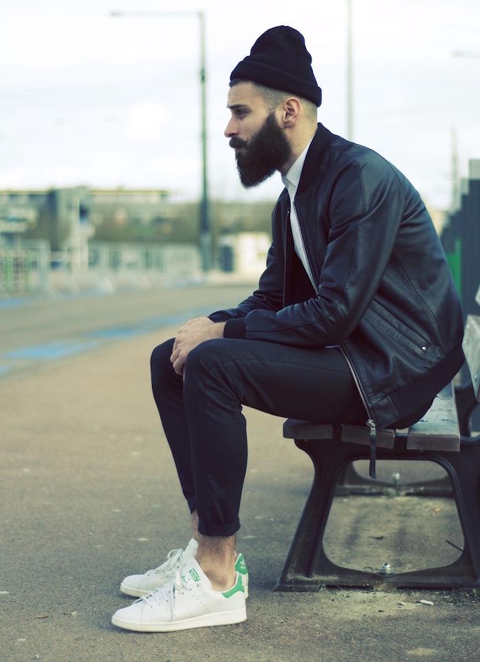 tendance chaussure homme hipster avec stan smith adidas blanc vert originales
