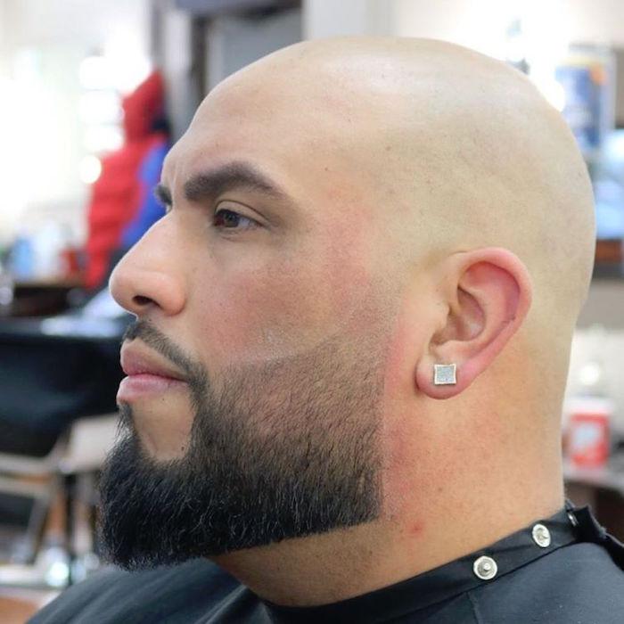 modele de barbe pour chauve et barbu dégradé sur la joue style médine